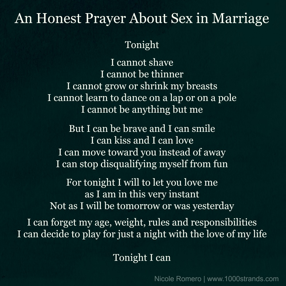 An honest prayer about sex in marriage by Nicole Romero at 1000strands.com