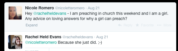 Rachel Held Evans on women preaching